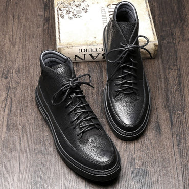 Genuine Leather Lace Up Black Ridding Boots