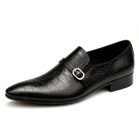 Breathable Slip-On Crocodile Pattern Genuine Leather Oxford Shoes