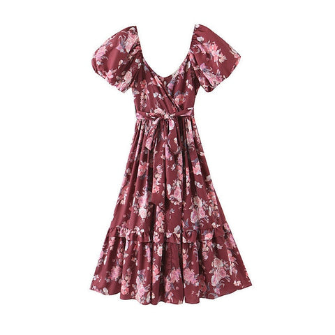 Floral Print Chic Silk Imitation Bow Sashes Boho Bohemian Dress