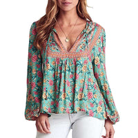 green floral long sleeve V-neck tied front loose Bohemian Blouse Shirts