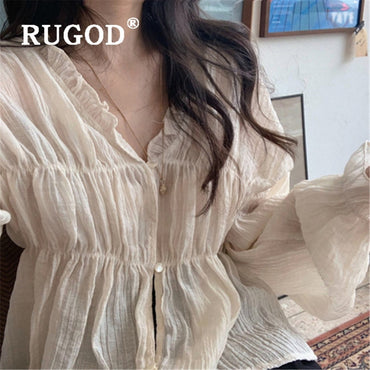 solid loose stringy flare sleeve Bohemian Blouse Shirts