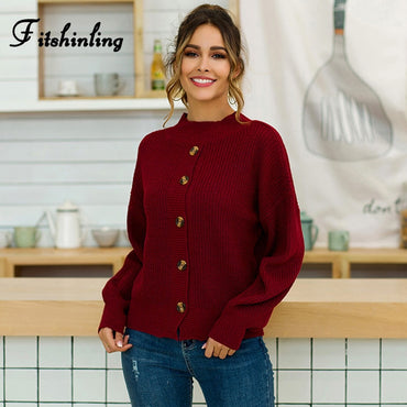 Buttons Up Half Turtlenecks Long Sleeve Knit Jumper Boho Bohemian Sweaters