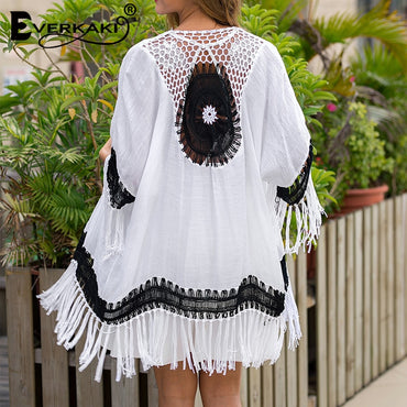 Tassels Embroidery Hollow Out Transparent Boho Bohemian Kimonos
