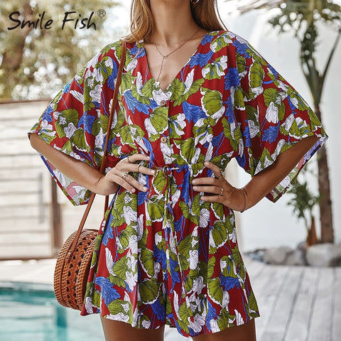 Cotton Loose Lace Up V-Neck Buttons Floral Printed Boho Bohemian Rompers