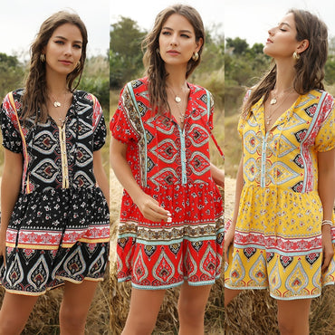Print Loose Short Sleeve V neck Boho Bohemian Rompers