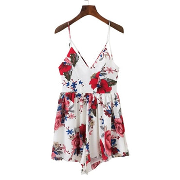 deep V neck print backless Boho Bohemian Rompers