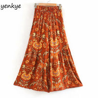 Orange Vintage Print Wide Leg Boho Bohemian Pants