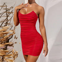 Red Off Shoulder Strapless Sleeveless Bodycon Mini Dress