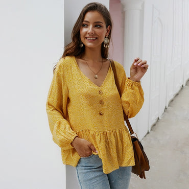 Casual V neck Knitted Top Jumper Print Long Sleeve Shirt Blouse