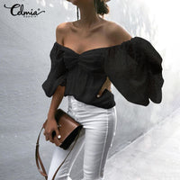 Sexy Lantern Sleeve Mesh Tops Off Shoulder Ruffles Shirt Blouse