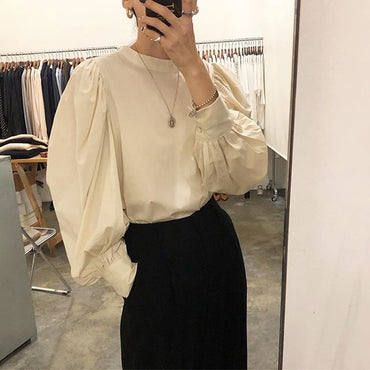 Lantern Sleeve Chic Style O Neck Loose Pullover Blouses