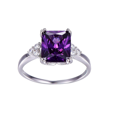 Vintage Sterling Silver emerald Cut Purple Gemstone Rings
