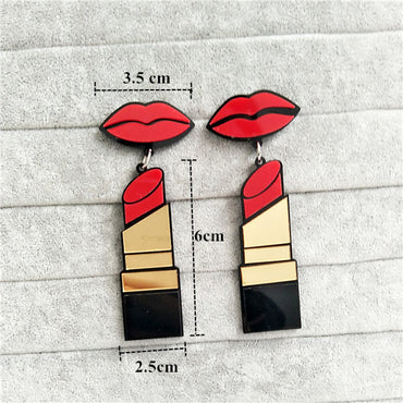Acrylic Red Mouth Lips Lipstick Drop Earrings