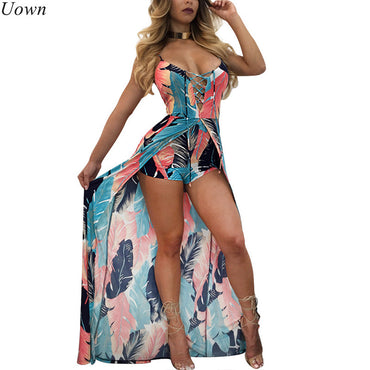 Elegant Strap Backless Lace Up Feather Print Boho Bohemian Rompers