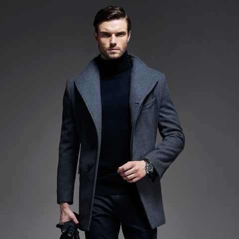 trench zipper wool coat