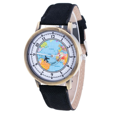 Casual Casual World Map Airplane Pattern Cowboy Band Wood Watches