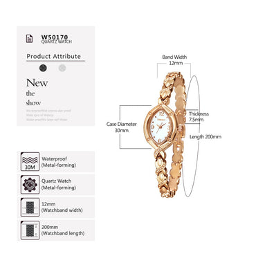 Gold Crystal Dial Rhinestone Casual Alloy Strap Dress Watch