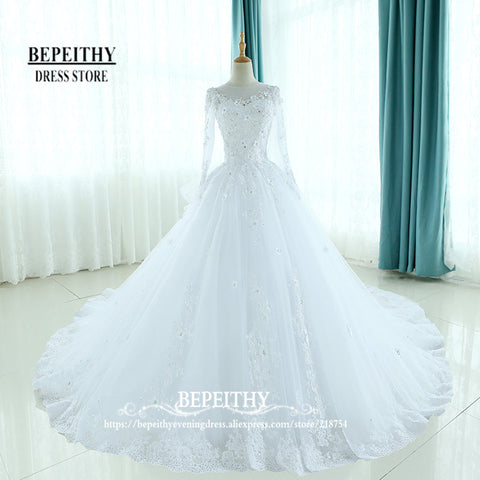 Full Sleeves Ball Gowns Scoop Neck Ruffles Back Wedding Dresses