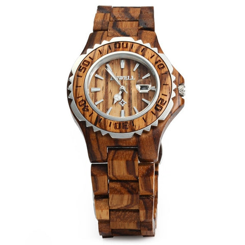 Luxury Brand Auto Date Wood Watches