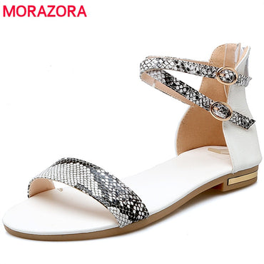 genuine leather Pu black white color Sandals
