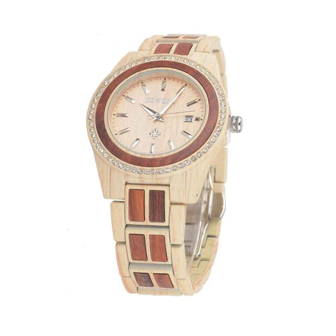 Analog Alloy Round Luxury Quartz Calendar Auto Date Wood Watches
