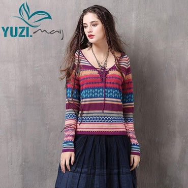 Cotton Wool V-Neck Long Sleeve Stripe Knitting Boho Bohemian Sweaters