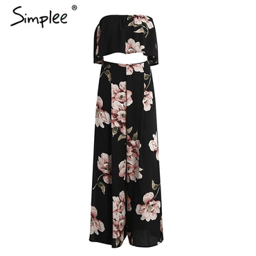 Boho print chiffon floral two-piece split long Jumpsuits