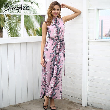 Backless boho print long jumpsuit