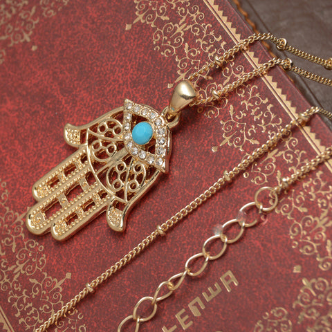 gold color Ethnic Hand Charm Pendant Necklaces Bohemian Accessories