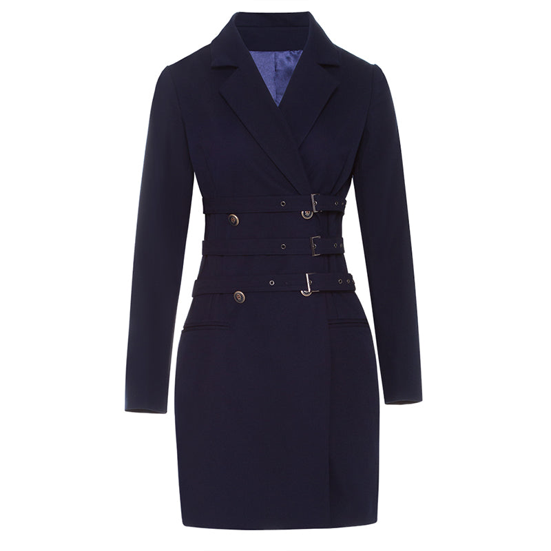 vintage girdle long sleeve Lapel belt notched dark blue retro Blazer Dresses