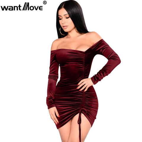 velvet sexy asymmetrical off shoulder dress