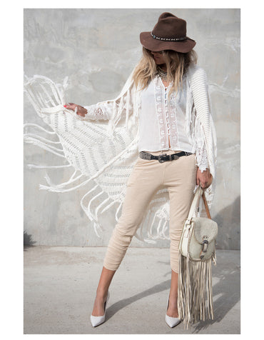 white solid color lace free casual loose cotton Bohemian Blouse Shirts