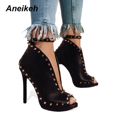 Ankle Boots Rivets Buckle Motorcycle Heels