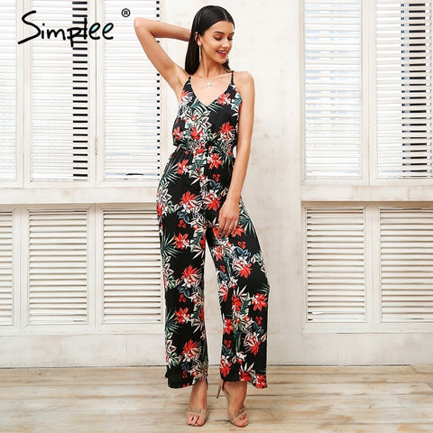 Sexy strap tropical print Cross backless ruffle boho jumpsuit
