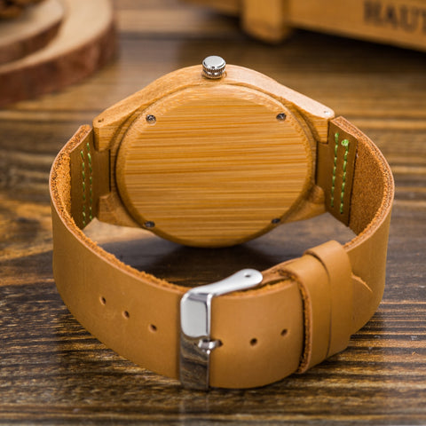 Genuine Leather Wood Watch