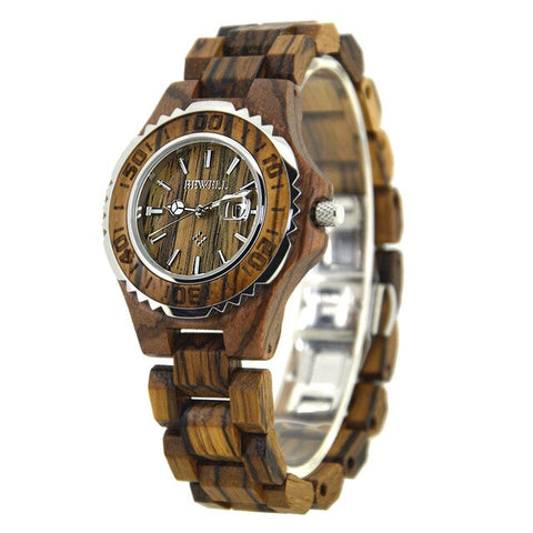 Luxury Brand With Calendar Wrist Wood Watches