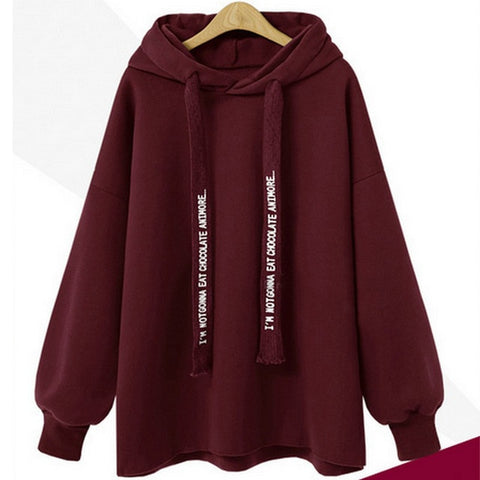 Casual Letter Loose Pullover Thick Warm Hoodie