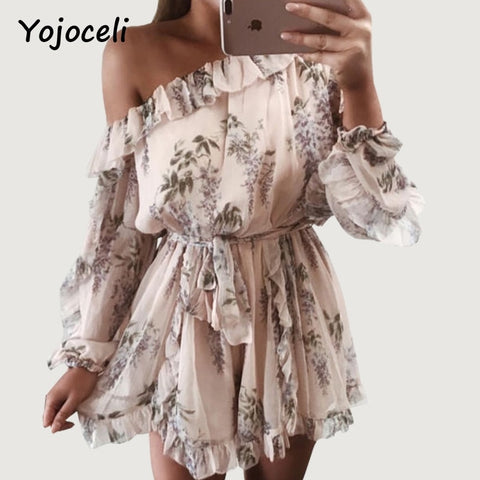 print floral off shoulder ruffled Rompers