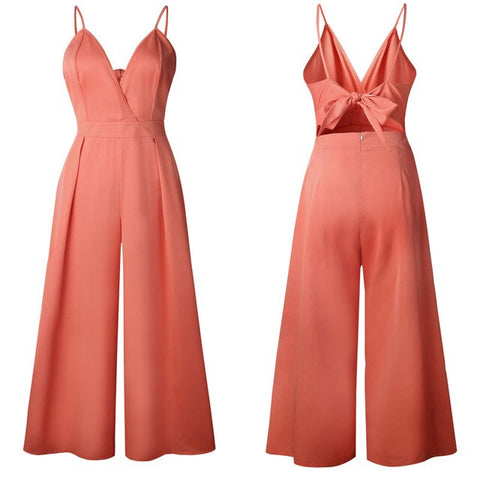 V Neck Backless Hollow Out Loose Wide Leg Jumpsuits
