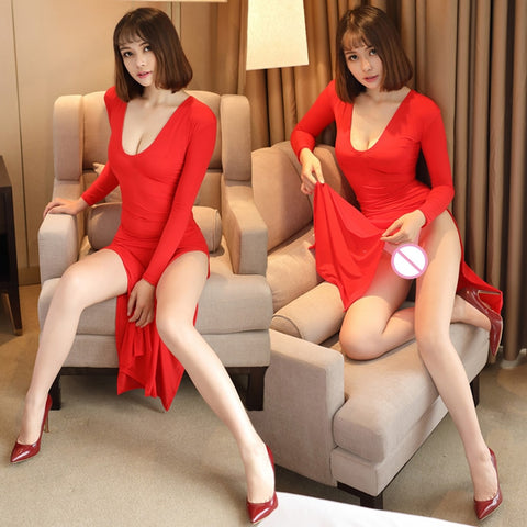 Milk Ice Silk Smooth Elastic High Cut Transparent Long Sleeves Sexy Dress