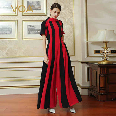 Heavy Silk Red Black Vertical Stripes Hit Color Short Sleeve Jumpsuit
