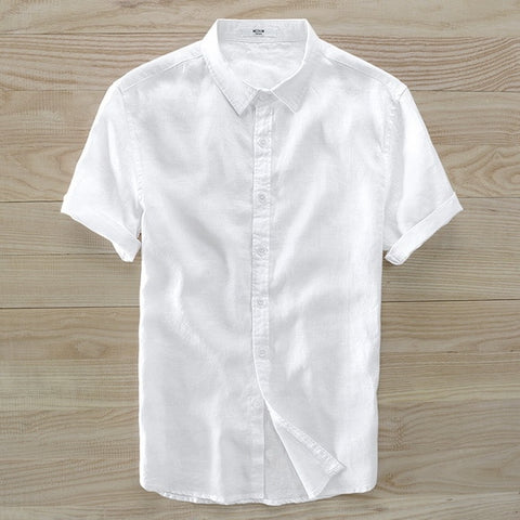 flax turn down collar sky blue Short Sleeve Shirts