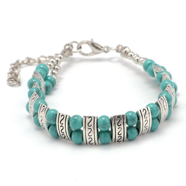 Ethnic Double Rows Beads Charm Bracelets & Bangles