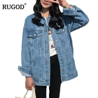Solid Turn-down Collar Loose Casual Blue Denim Jackets