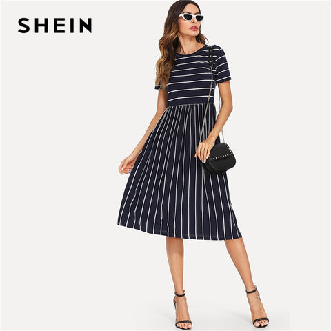 Round Neck Short Sleeve Mixed Stripe Natural Waist Smock Casual Dresses