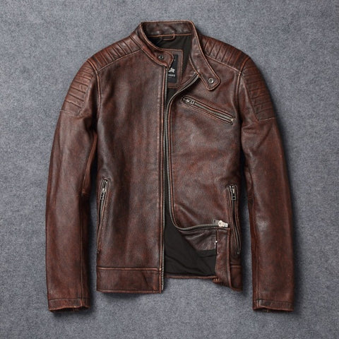 Vintage Genuine Leather Motor Biker Cowhide Bomber Jackets