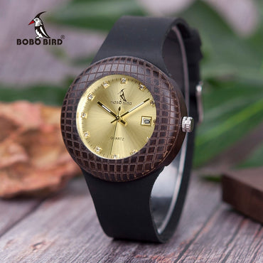 Show Date Quartz Special engraving Wood Watches