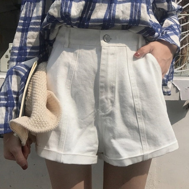 Solid Color High Waist Casual Wide Leg Shorts