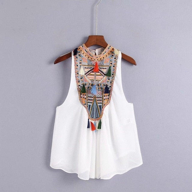 Embroidery Tassel Ball Sleeveless Back Buttons Cropped Bohemian Tank Tops