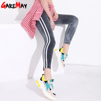 Striped Slim Casual High Waist Velvet White Stripe Stretch Pencil Leggings